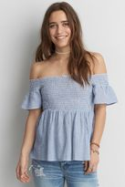 American Eagle Outfitters AE Off-The-Shoulder Short Bell Sleeve Top