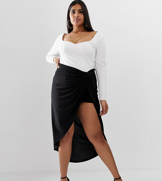 Club L London Plus knot front ruched skirt in black