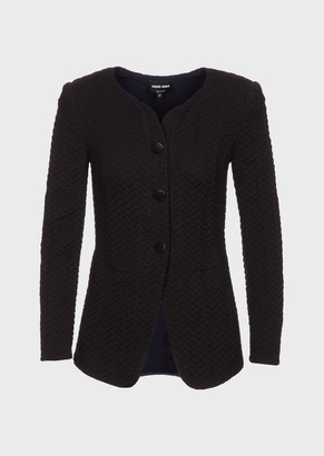 Giorgio Armani Fabric Jacket With Embossed Chevron Design