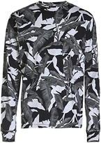 Diesel T-joe-ls Camo Leaf Print Long Sleeve T-shirt, Grey