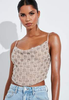 Missguided Silver Square Neck Embellished Cowl Neck Crop Top