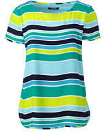 Lands' End Women's Petite Short Sleeve Crepe Tee-Aqua Shell Multi Stripe