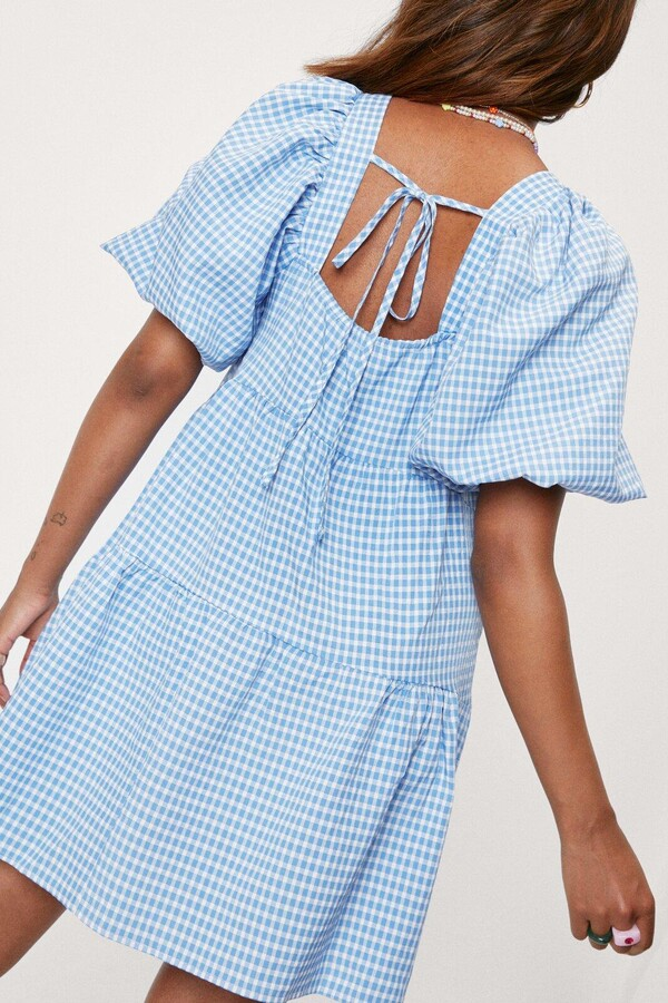Thumbnail for your product : Nasty Gal Womens Gingham Tiered Mini Smock Dress