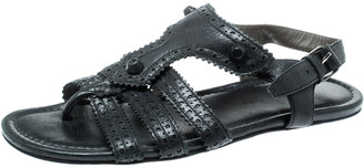 Balenciaga Black Leather Arena T-Strap Flat Sandals Size 37