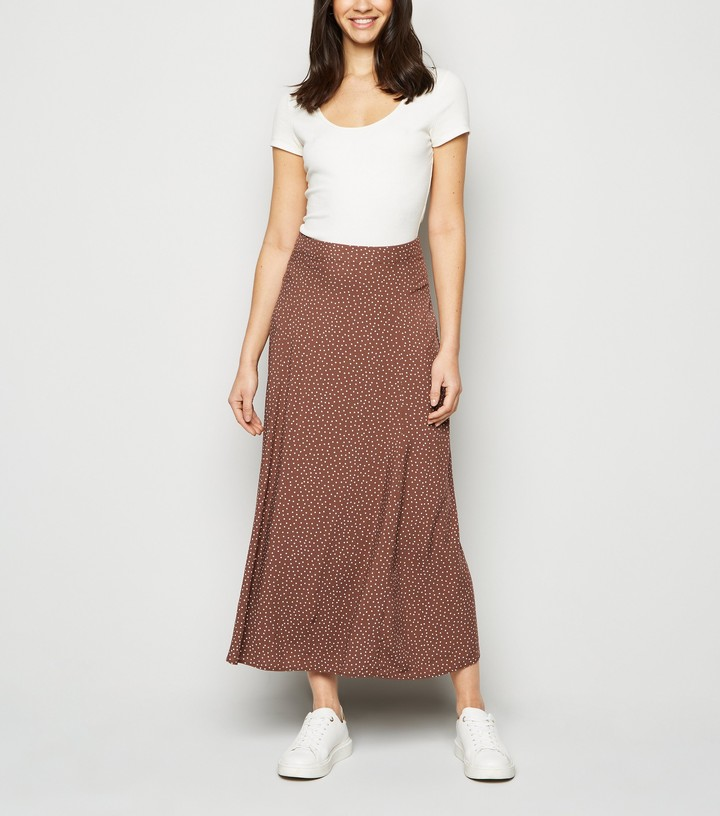 Thumbnail for your product : New Look Spot Circle Cut Midi Skirt