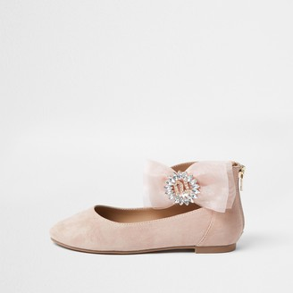 River Island Girls Pink organza bow ballerina shoes