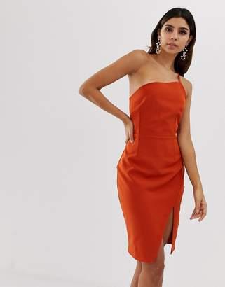 Vesper one shoulder split bodycon dress-Brown