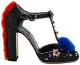 Dolce & Gabbana fur embellished T-bar pumps