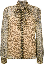 RED Valentino pussy-bow leopard blouse