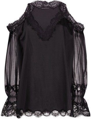 Ermanno Scervino Lace Cold-Shoulder Blouse