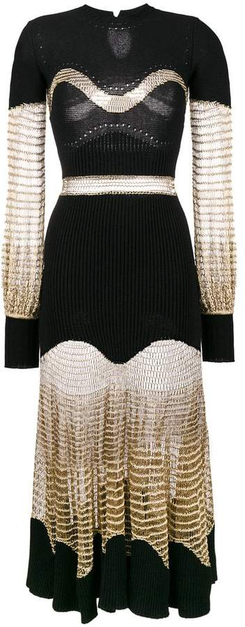 Alexander McQueen metallic mesh knit dress