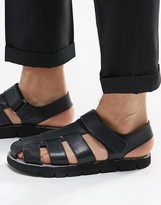 Dune Leather Sandals In Black