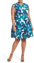 Vince Camuto Print Crepe Fit & Flare Dress (Plus Size)