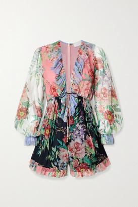 Zimmermann Bellitude Ruffled Patchwork Floral-print Silk-crepon Playsuit - Black