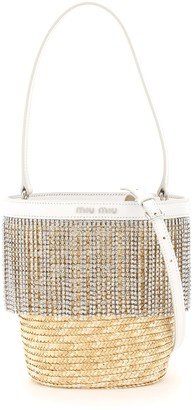 Miu Miu Starlight Straw Bucket Crystal Fringe