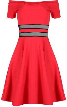 Fashion Star Womens Ladies Off The Shoulder Mesh Panel Cap Sleeves Swing Mini Skater Dress Red