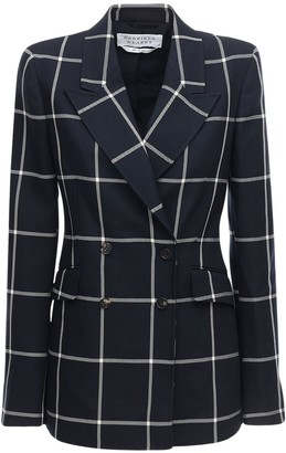 Gabriela Hearst Windowpane Double Breasted Wool Jacket