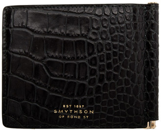 Smythson Navy Croc Mara Money Clip Wallet