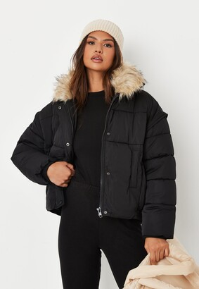 Missguided Tall Black Ultimate Faux Fur Puffer Jacket