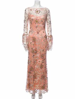 Naeem Khan Silk Long Dress Orange