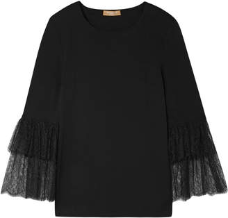 Michael Kors Lace-trimmed Stretch-jersey Top