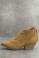 Qupid Misha Moss Tan Suede Ankle Booties