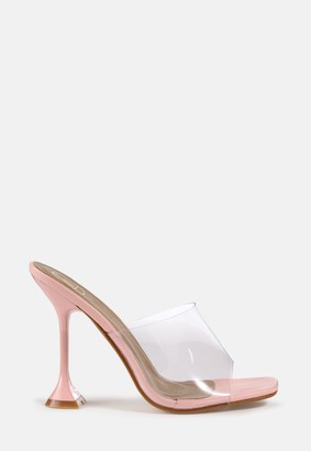 Missguided Pink Clear Feature Heel Sandals