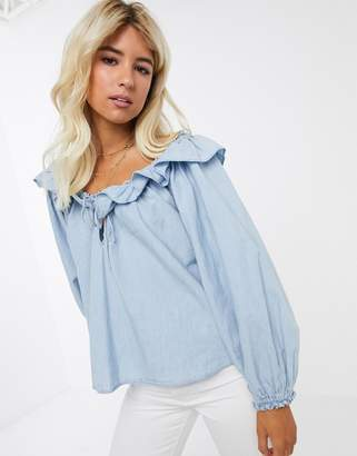 Free People lily of the valley chambray ruffle blouse-Blue