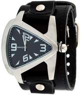 Nemesis #LBB011K Men's Signature Black Dial Leather Cuff Band Tear Drop Watch