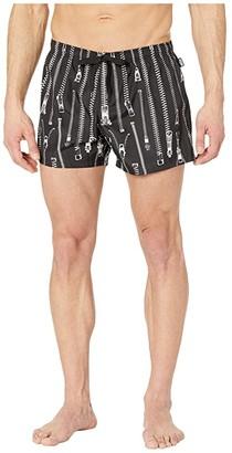 Moschino Zip Swim Trunks (Black) Men's Swimwear