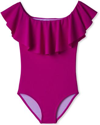 Stella Cove Girl's Neon Ruffle One-Piece Swimsuit, Size 12M-14