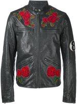 Dolce & Gabbana rose patch biker jacket