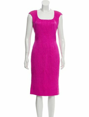 Oscar de la Renta Knee-Length Sheath Dress Fuchsia