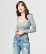 Long Sleeve Solid Ribbed V-Neck Tee