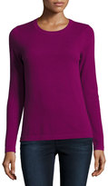 Neiman Marcus Cashmere Basic Pullover Sweater, Pink
