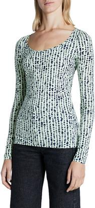 Proenza Schouler White Label Sheer Stretch Long-Sleeve Scoop-Neck Top