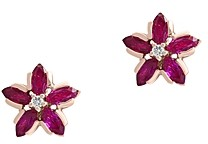 Bloomingdale's Certified Ruby & Diamond-Accent Flower Earrings in 14K Rose Gold - 100% Exclusive