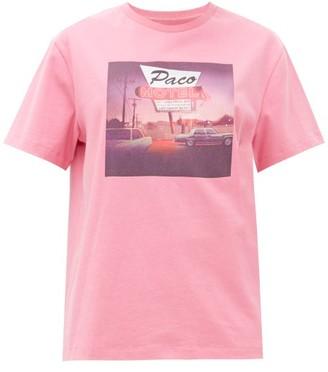 Paco Rabanne Motel-print Cotton T-shirt - Pink
