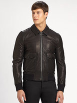 Burberry Double Pocket Leather Bomber