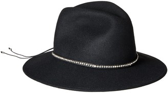 Ale By Alessandra Women's Harley Wool Adjustable UPF 50+ Felt Fedora Hat with Skull and Silver Metal Beads