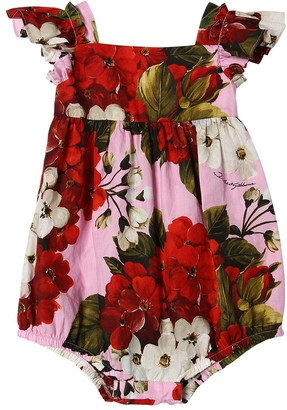 Dolce & Gabbana Geranium Print Cotton Poplin Bodysuit