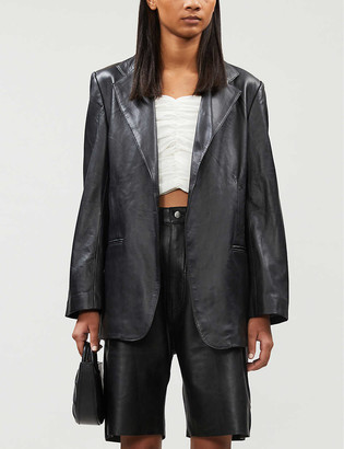 Georgia Alice Notch-lapel leather blazer
