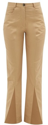 Martine Rose Front-slit Cotton-twill Trousers - Womens - Beige