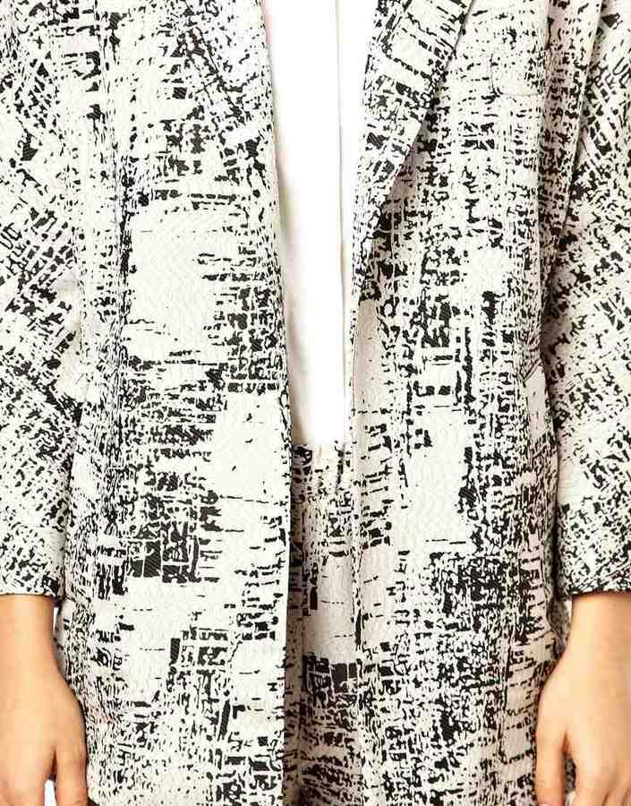 Asos Longline Blazer In Monochrome Abstract
