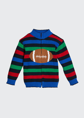 Florence Eiseman Boy's Multicolor Striped Football Intarsia Jacket, Size 2-4T