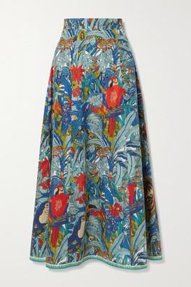 Le Sirenuse Positano Camille Printed Cotton Maxi Skirt - Blue