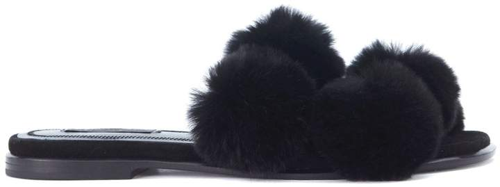 Alexander Wang Ava Black Sandals With Pompom