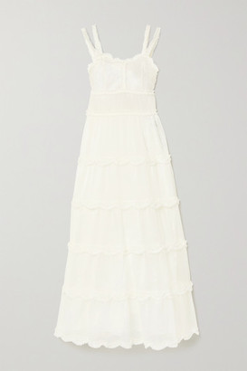 Fendi Ruffled Silk-organza Maxi Dress - Ivory