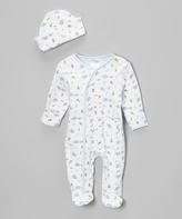 SpaSilk Blue Elephant Footie & Beanie - Infant