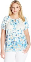 Fresh Women's Plus-Size Short Sleeve Allover Print Keyhole Scoop Neck with CF Ties